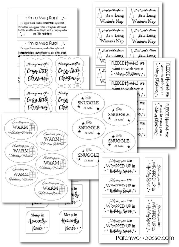 free blanket gift tag printables. 8 different templates including one for a mug rug. so cute!