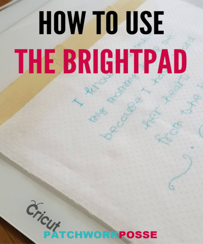 The Cricut Bright Pad is the best quilting supply when it comes to tracing embroidery or transferring designs.  It's simple to set up, great for traveling if needed and the perfect size for any project you are working on.