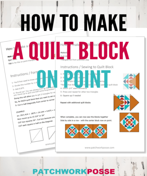 "Learn how to make a quilt block on point.  There is a formula you can follow to make those quilt blocks ""grow"" in a setting that will make a larger quilt."