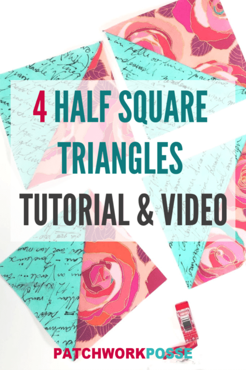 Learn how to make four half square triangles at a time. They are super quick and are great for when you need a quick quilt top done! Watch the video!