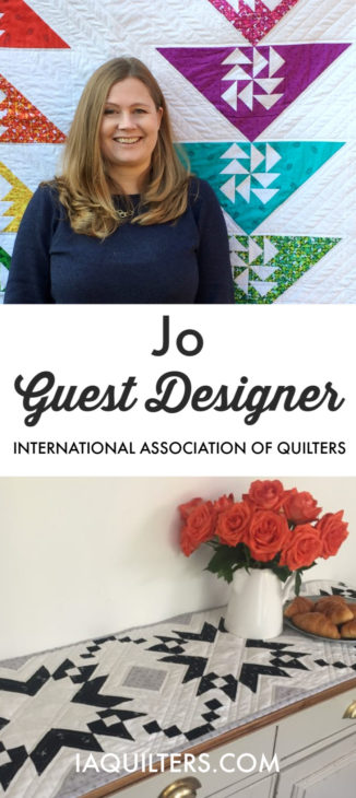 Jo - the guest designer for the International Association of Quilters. Check out her pattern she's sharing and her trunk show of quilts!